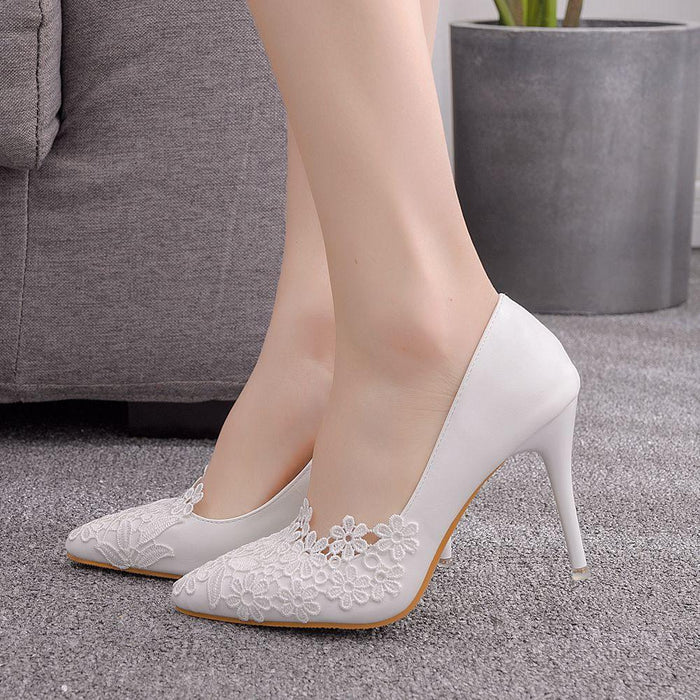 Bridal  Heels -White Lace Flower