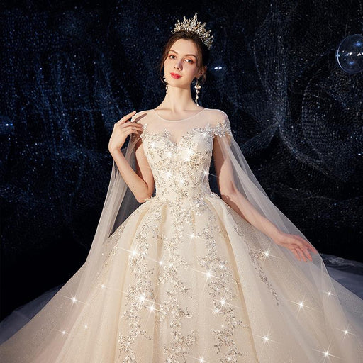 Net yarn round neck three-dimensional waist sequins bride wedding dress
