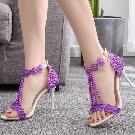 Bridal  Sandals - Lace Beads