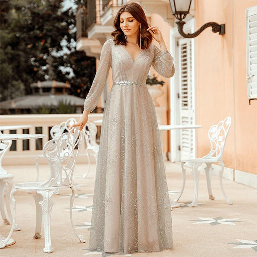 Deep v long-sleeved powdered fabric shiny annual party gown