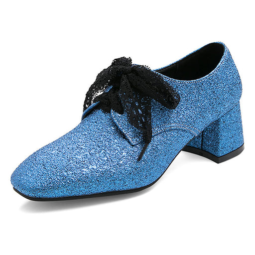 Glitter Blue front lace-up Low Heels shoes