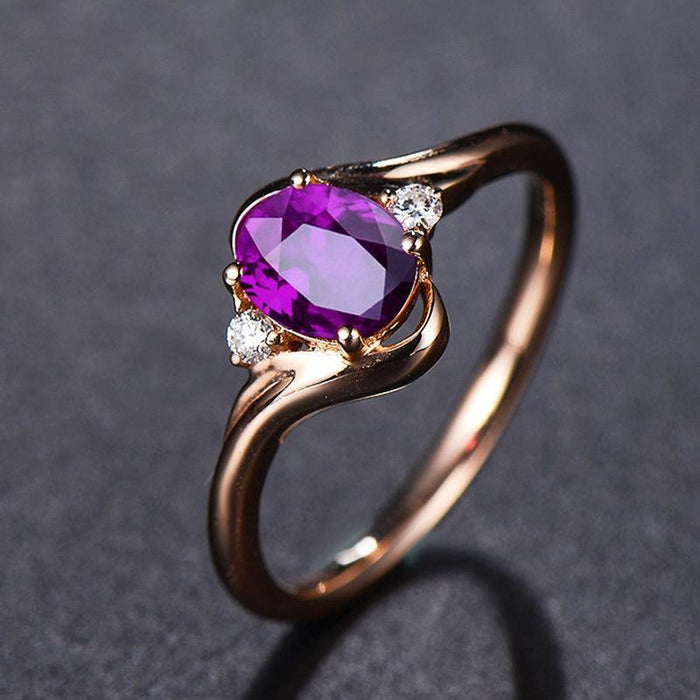 Luxury temperament plated 18K rose gold amethyst women's ring