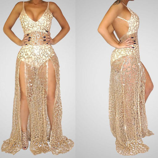 Diamond-encrusted sequined v-neck sexy see-through backless slit nightclub drag dress