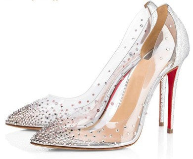 Pearl rhinestone sexy transparent high-heeled