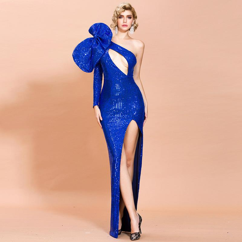 Night Club Sequin Irregular high split dress