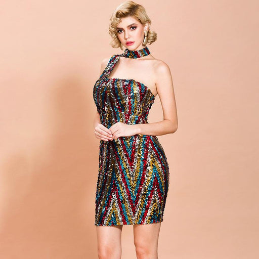 Party evening dress hanging neck Glitter short sleeveless Multi-Color  dress