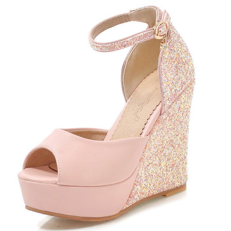 Glitter Pink  Fish mouth Wedges Sandals
