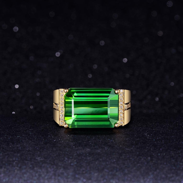18-karat gold-plated gold inlaid emerald rectangular men's ring