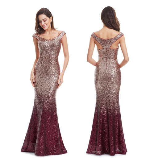 Party Dazzling V-neck Gradient evening dress