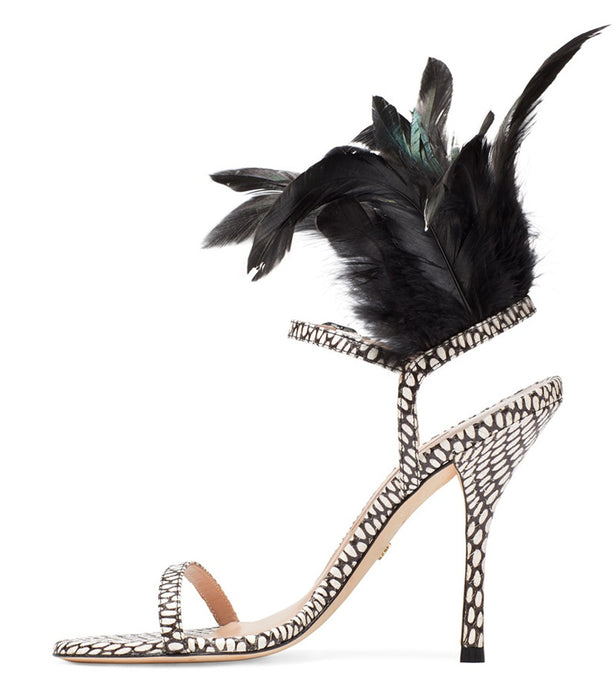 Night Club Black Feather High Sandals