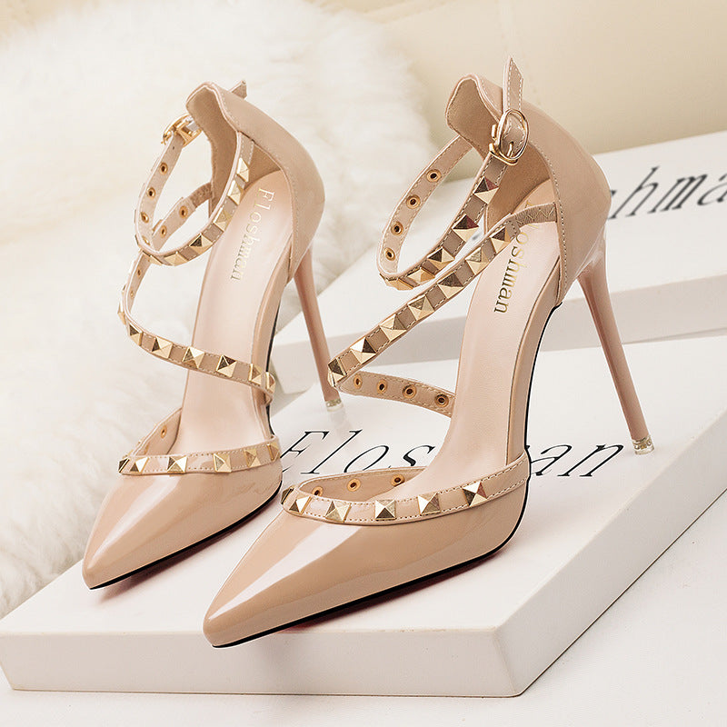 Sexy thin heel shallow mouth pointed rivet hollow word sandals
