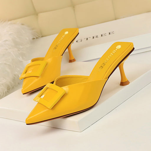 High-heeled leather V-point pointed solid color belt buckle daily wild female slippers