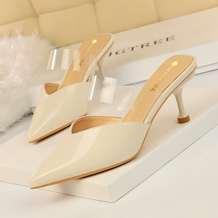 Summer thin heel pointed transparent slippers