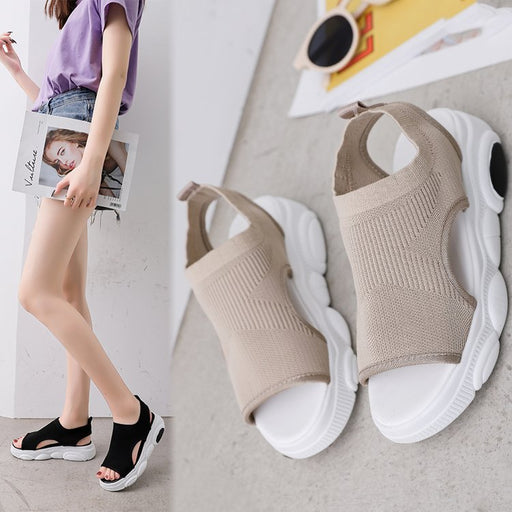 Flying woven casual sports sandals muffin shoes platform shoes