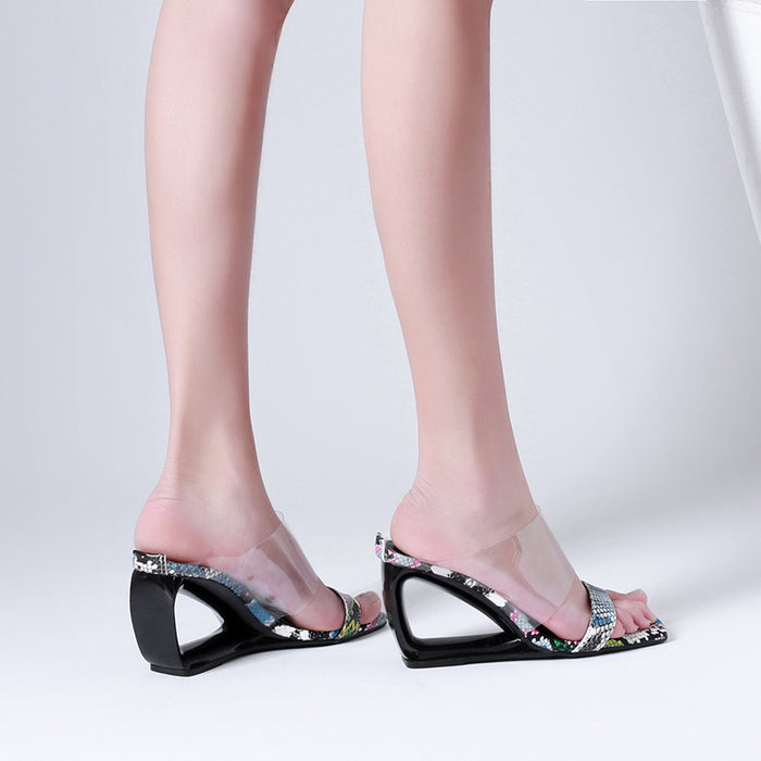 Open toe Transparent Serpentine Snake Party  Slides