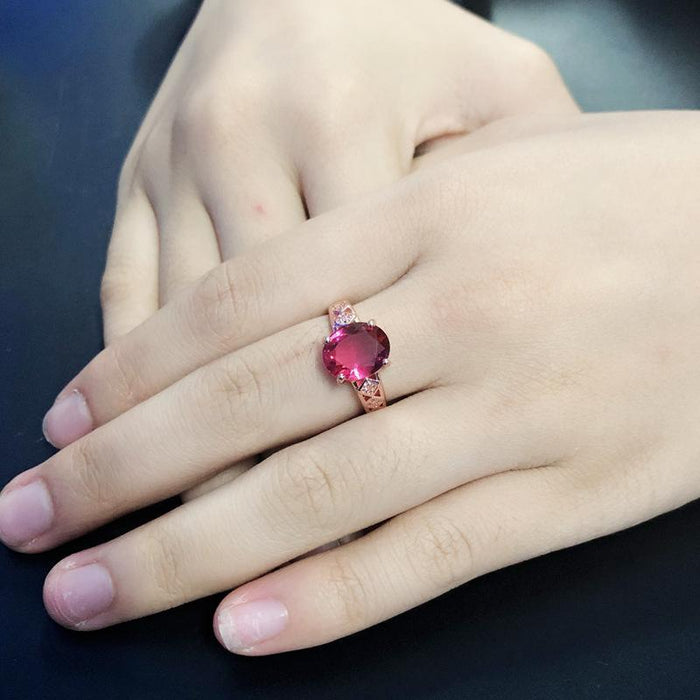 High-end temperament carved rose-red ruby women's ring