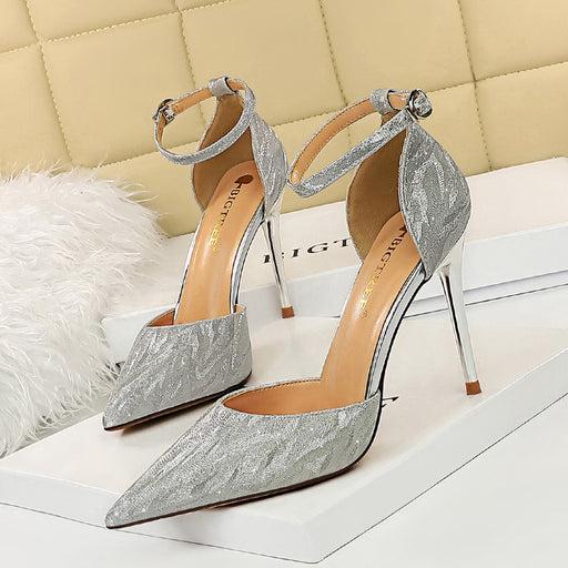Slim heel sequined hollow sandals