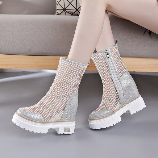 spring Baotou cool boots increased in the thick bottom was thin net boots sexy thin and thin boots