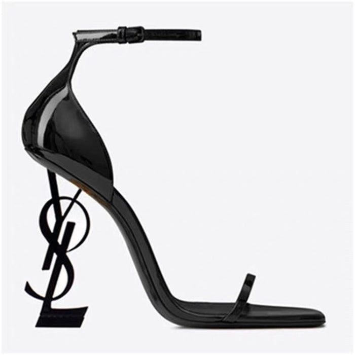 One word with ysl shaped letters and high heel sandals