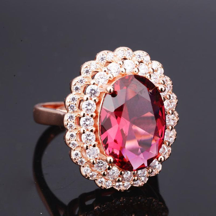Temperament high-end Inlay zircon ruby women's birthday ring