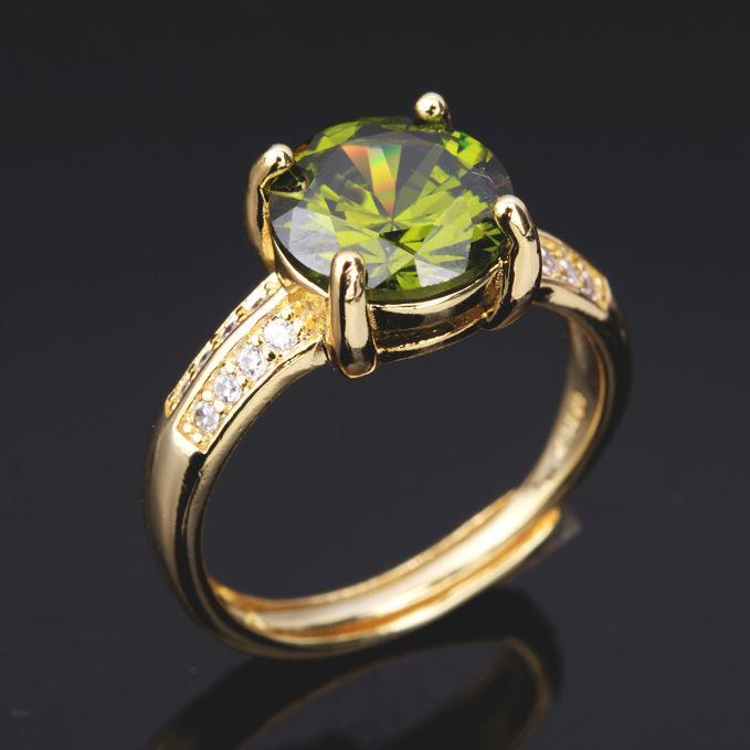 Double-row zircon plated with 18K gold peridot women's birthday ring