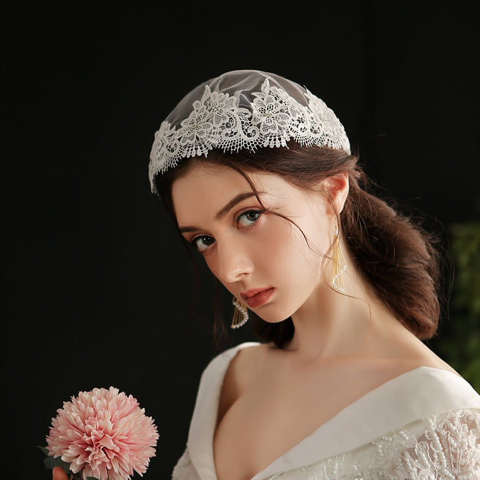 Fairy Lolita lace covered flower hat bridal veil sweet wedding dress hat