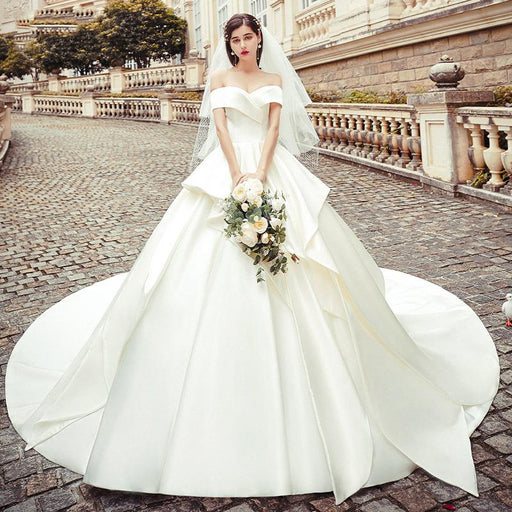 Satin wedding dress with shoulders