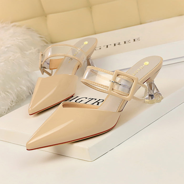 Crystal high-heeled shallow mouth pointed transparent hollow word belt buckle slippers
