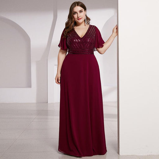 Deep V-neck wine red chiffon Sequins long evening dress