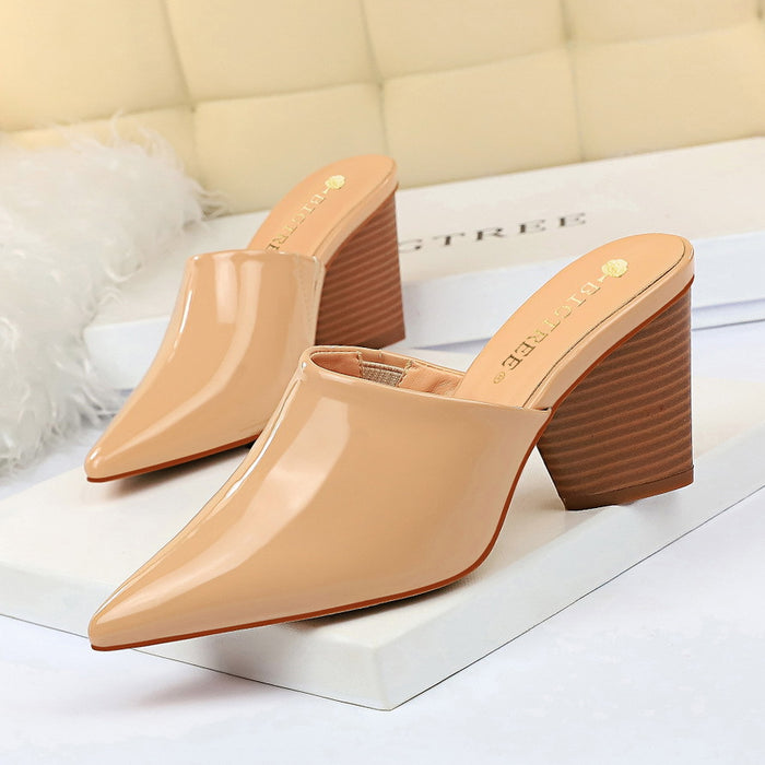 Wood grain thick heel leather pointed slippers