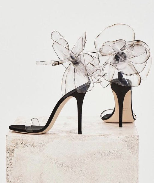 Night Club Sparkly  crystal Flowers High-heeled sandals