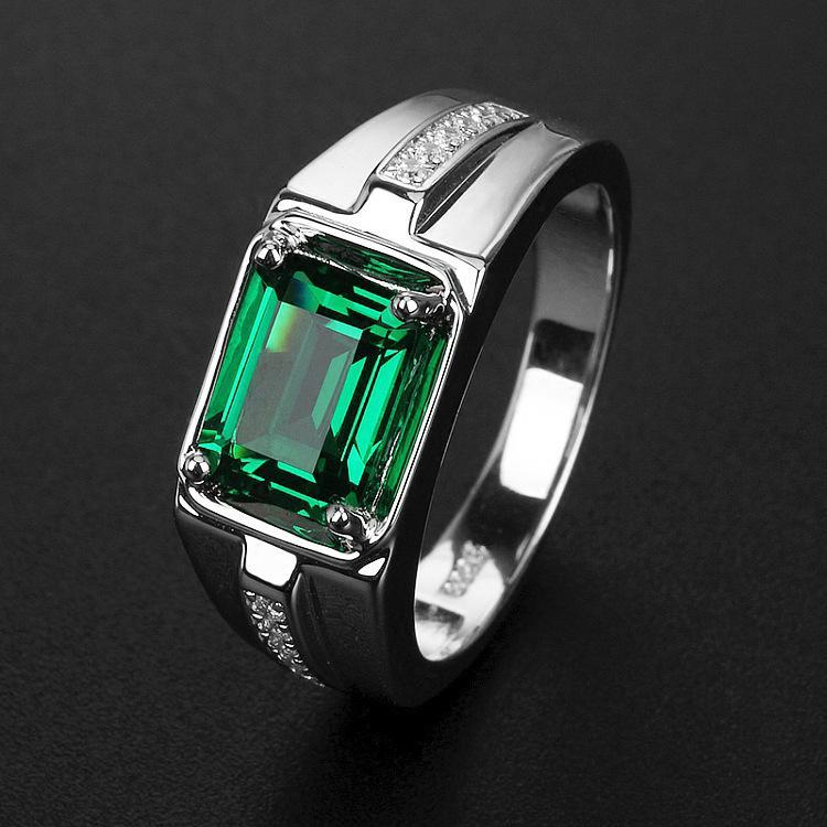 Fashion business emerald oblong men's Inlay zircon ring