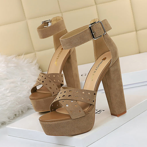 Sexy female sandals with high-heeled waterproof platform and open-toed cross straps