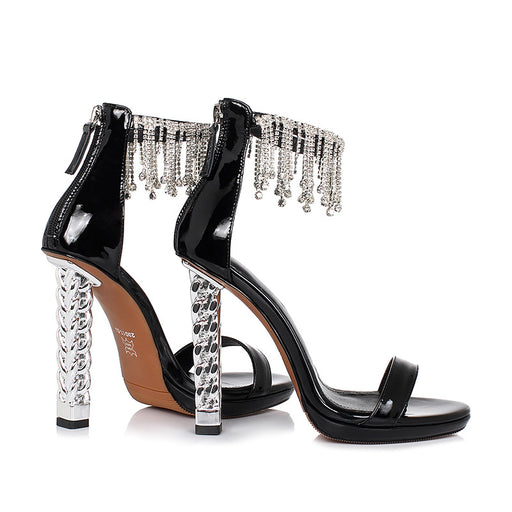 Silver Rhinestone Tassel Night Club Pump Sandals