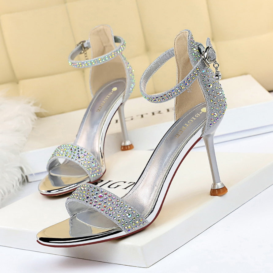 Banquet summer fine-heeled high-heeled open-toe rhinestone sandals