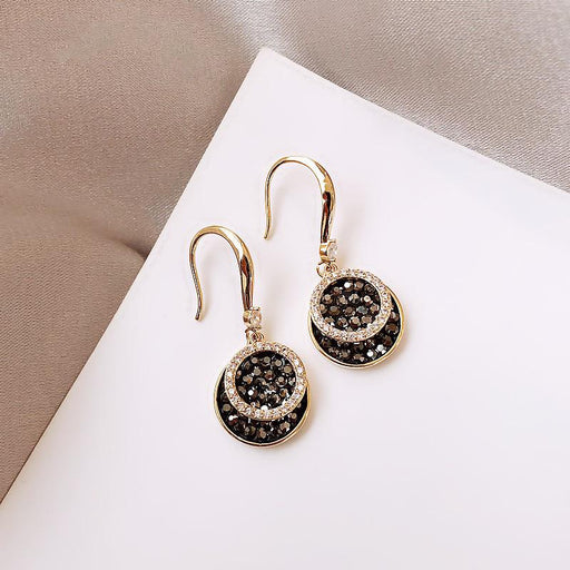 Ring black diamond Korean temperament French high sense of fashion glitter earrings