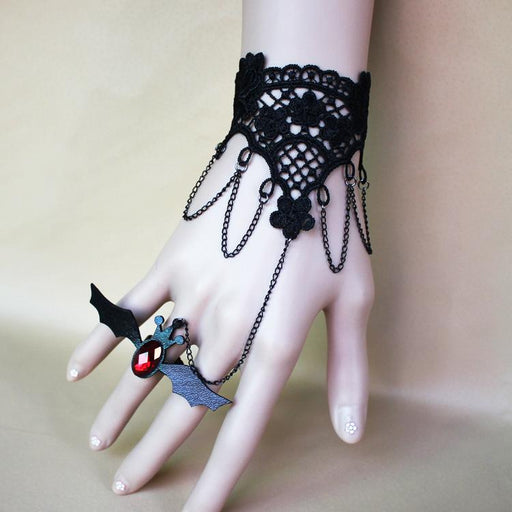 Fancy Lolita Lace Halloween ghost festival christmas vintage black bat lace bracelet