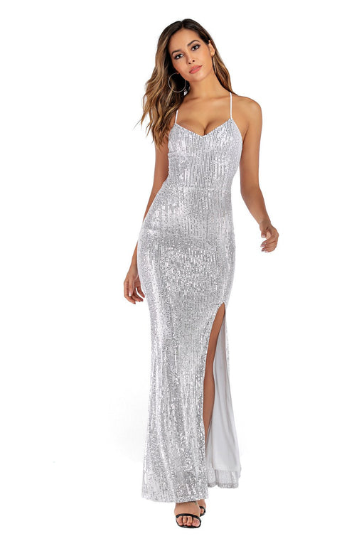 White  sexy halter dress strap Glitter split dress