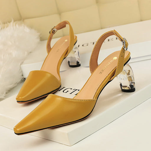 Hollow transparent crystal heel high heel shallow mouth pointed sandals