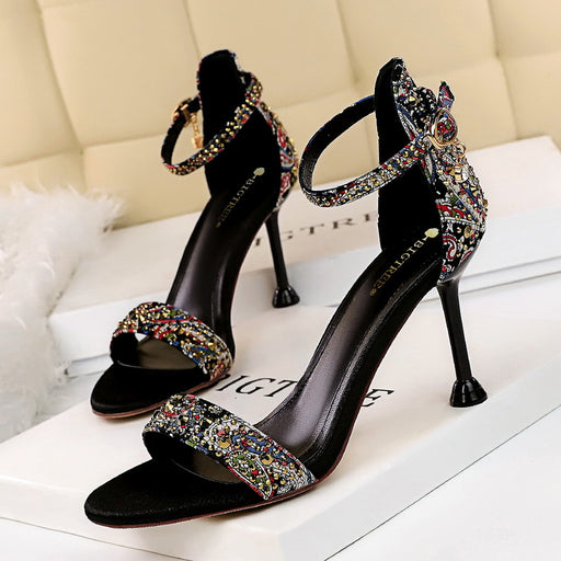 Vintage summer shoes high heel open toe with rhinestone flower cloth sandals