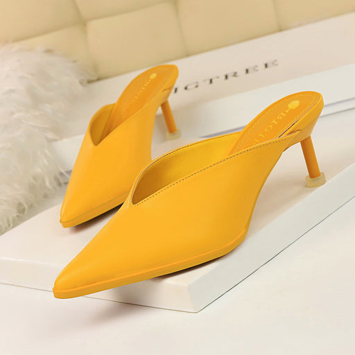 Korean version of the daily lazy baotou drag / V mouth hollow pointed comfortable and versatile thin heel / high heel female slippers