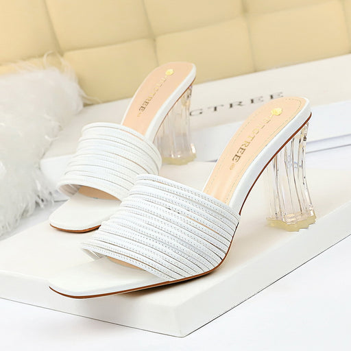 Elegant female slippers transparent crystal with square head open toe hollow female sandals