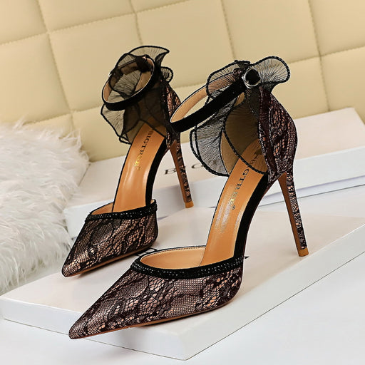 Banquet fine-heeled shallow mouth pointed high-heeled hollow hollow sandals with mesh lace
