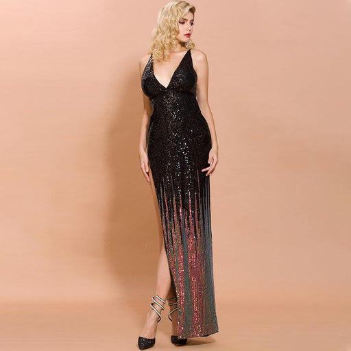 Sexy deep V-neck Night Club Black fishtail Glitter temperament dress