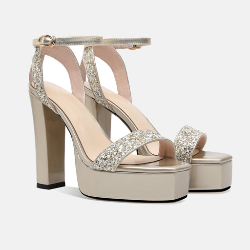 Bridesmaid buckle Rose Gold Glitter Pumps Sandals