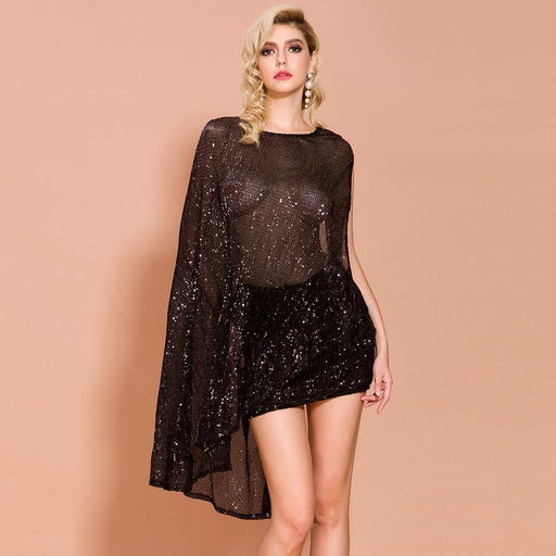 Night Club sexy hollow irregular backless Sequin two-piece dress