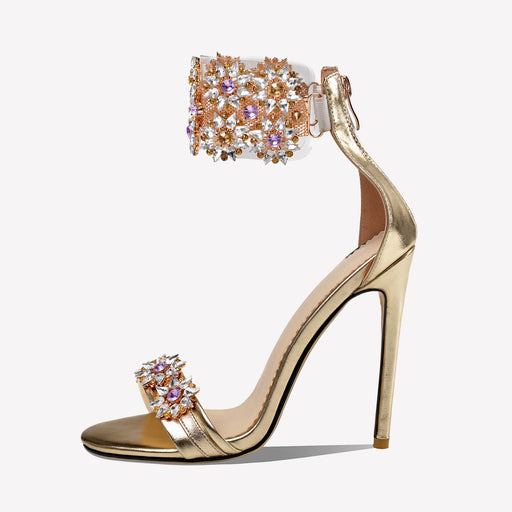 Bridal Rhinestones Flowers   Sandals