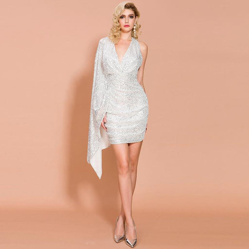 White Irregular Sleeveless Hip Sparkle Dress