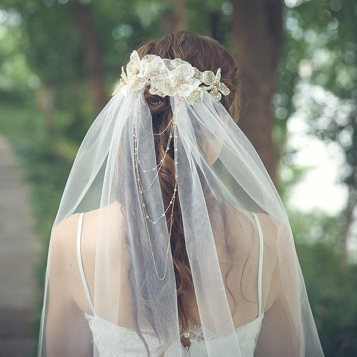 Bridal Veil Forest Long Section Wedding Veil Gauze Sequin Leaves