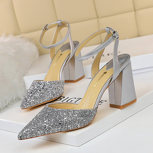 Thick-heeled high-heeled shallow cutout sequined pointed sequined women's sandals
